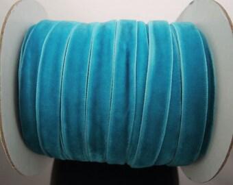 Velvet Ribbon - Turquoise Blue Velvet Ribbon 10mm ( 3/8 inches )