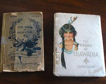 Antique Longfellow Hiawatha Books, The Wooing of Hiawatha 1901 and The Song of Hiawatha 1899