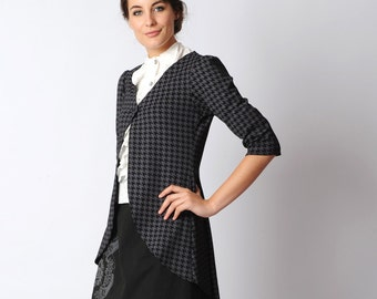 Long houndstooth cardigan, black and lilac-grey, houndstooth jersey jacket, Pleated swallowtail jacket - Office fashion, MALAM