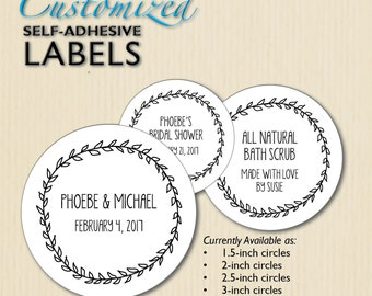 Custom Wedding Labels, Bridal Shower Favor Sticker, Product Labels, Candy Buffet, White Jar Labels, Bar Mitzvah, Welcome Bag, Personalized