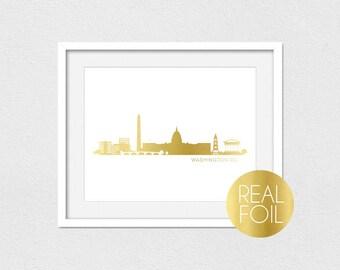 Washington DC Skyline Foil Print // Gold Foil // Rose Gold Foil // Silver Foil // DC Skyline // Skyline Foil Print // Gold Foil Art