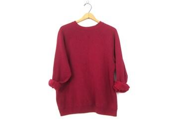 Purple Berry Raglan sweatshirt 1990s THIN slouchy sweater Basic Casual Sweater Plain shirt ATHLETICS Sports Sporty Top Women's size XL