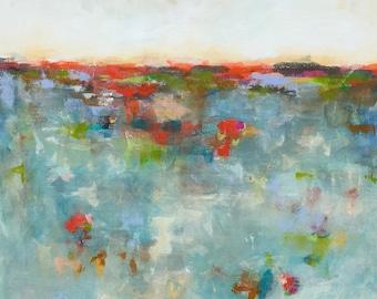 Abstract Seascape Painting Original Art - Coastal Color 36 x 48