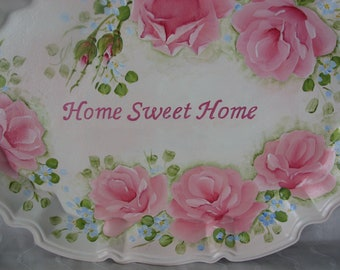 Pink Roses Tray Hand Painted Silverplate Wall Decor Sign Home Sweet Home