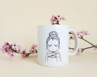 "MUG ""It's coffe time""  illustrated cup, coffee cup, girl mug, breakfast cup"