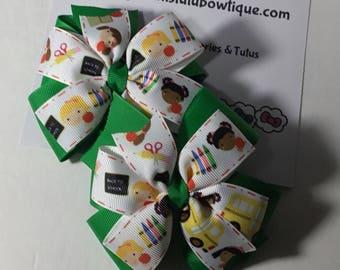 Uniform Color Pinwheel Hair Bow Back to School Ribbon Printed Hair Bow Hair Clip.
