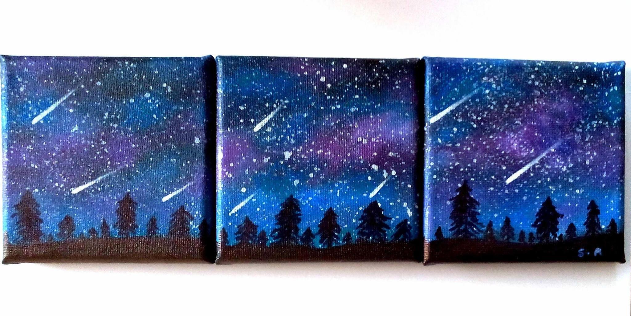 Tableau paysage de nuit galaxie peinture paysage de nuit