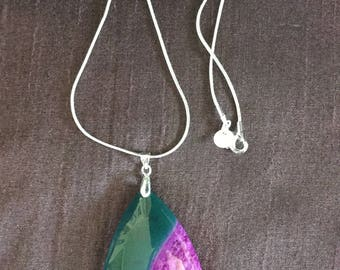 Large purple and green Agate Teardrop Pendant