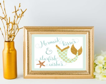 Mermaid Kisses & Starfish Wishes 8x10 Printable - Mint and Gold