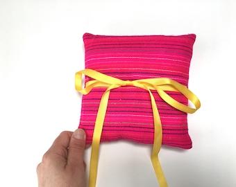 Pink Ring Bearer Pillow, Mexican Mini Cushion, Aztec nursery Decor, Fiesta Wedding Decoration, Home Decor, Bowl Filler