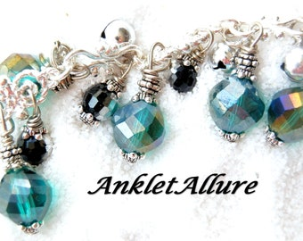 Anklet with BELLS Gypsy Anklet Black Belly Dance Anklets for Women Teal GUARANTEED