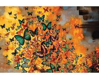 Lily Greenwood (Butterflies on Ochres & Greys) Art Print50 x 100cm  PPR41168