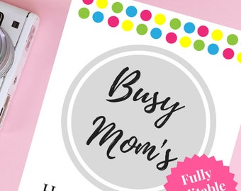 Printable Busy Mom's Household Binder - Fully Editable!