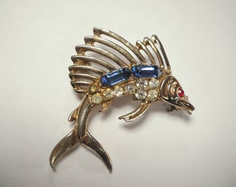 Vintage Bejeweled Sailfish Brooch