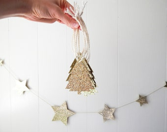 Golden Glitter Tree Gift Tags - Christmas Tags - Holiday Tags - Paper Ornaments