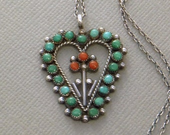 Old Pawn NATIVE American TURQUOISE Heart Pendant Necklace Petit Point Coral Flower Long STERLING Chain, Vintage Zuni Jewelry Summer Gift
