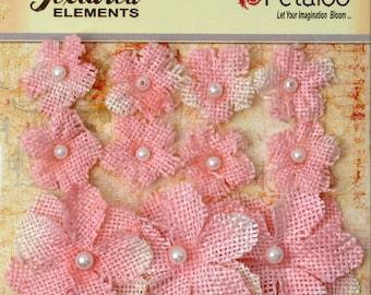 Petaloo Burlap Flowers Pink