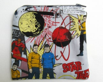 Star Trek Zippered Pouch.  Small Square Cosmetics Pouch.  Change Purse.  For Star Trek Fans.
