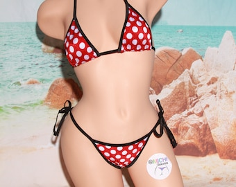 Red with White Polka Dots with Black Trim Medium Coverage Top Full Coverage Scrunch Butt String Bikini 2 Piece Set One Size