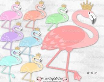 Flamingo Birds Gold Crown 8 Colors | Baby Shower Decorations | Digital Instant Download