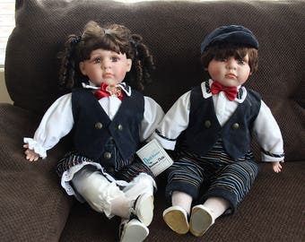 Duck House Heirloom Dolls - Twin Boy and Girl - Male 304 of 5000, Female 306 of 5000
