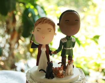 Couple holding hands and pets. Harry Potter/Legend of Korra Themed Wedding. Handmade. Fully customizable. Unique keepsake