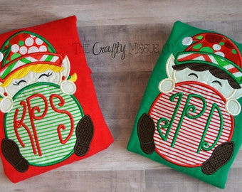 Matching Christmas Pajamas-Elf Christmas Pajamas-Sibling Christmas Pajamas-Matching Monogrammed Christmas Pajamas-Family Pajamas
