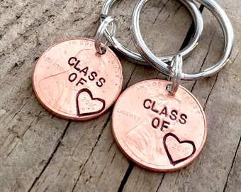 Set of 2 Class of 2017 Hand Stamped Graduation Gift, Personalized Custom Lucky Penny Keychain for Graduate, High School, College, University