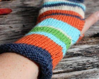 Long Fingerless Gloves, Striped Fingerless gloves. Handknit Fingerless gloves. Armwarmers. Wristwarmers. Striped gloves. Burnt orange. aqua
