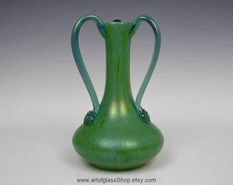 """10"""" Loetz 'Ozone Ciselé' iridescent green glass vase"""