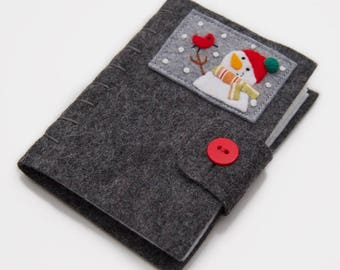 Wool Needle Book, Handmade Needle Minder, Snowman Pin Cushion, Winter Sewing Case, Sewing Needle Case, Compact Sewing Case, Felt Book