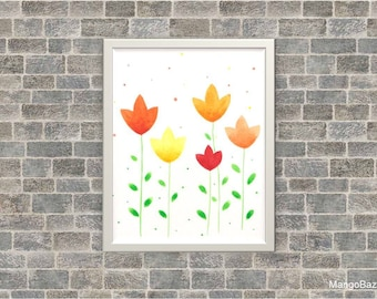 Floral watercolor painting, spring decor, flowers, bright home decor, greeting card, Digital file - Instant download