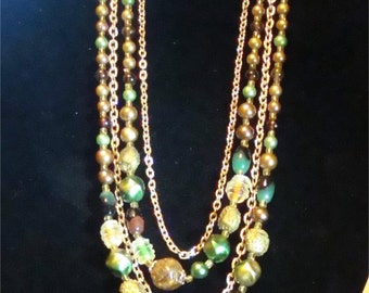 Vintage 4 strand chain and bead necklace w/earings