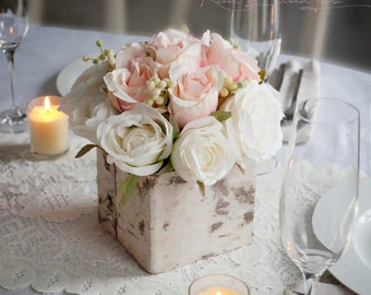 Wedding centerpieces etsy wedding centerpiece rustic blush and ivory rose wedding centerpiece junglespirit Images