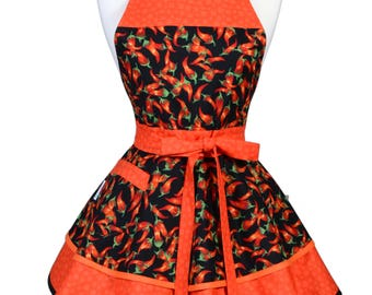 Womens Ruffled Retro Apron - Red Hot Chili Peppers Flirty Pinup Kitchen Apron with Pocket - Personalized Monogram Option