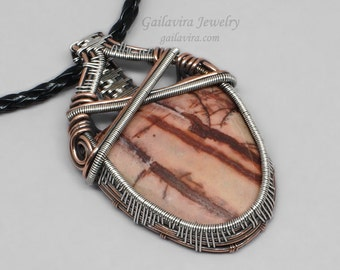 Cherry Creek Jasper Sterling Silver and Copper Mixed Metal Necklace Pendant