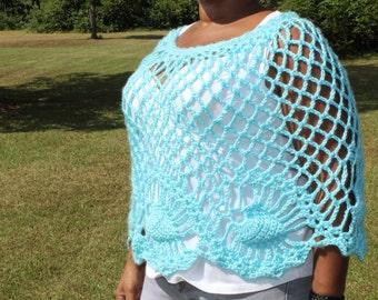 Light Blue Mesh Crochet Poncho - Handmade