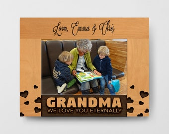 Custom Frame, Grandma Mothers Day Frame, Engraved Frame, Personalized Gift, Personalized Wood Picture Frame, wooden picture frame