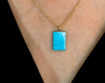 Battle Mountain Blue Gem Turquoise Pendant Surrounded with Solid 14k Gold High Grade Blue Turquoise Rectangle Drop Pendant Necklace 15 CT