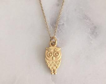 Kleine Eule Halskette - Gold