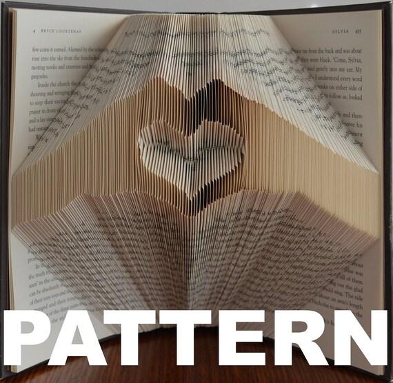 book folding pattern heart in hands free instructions