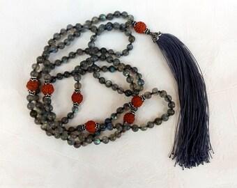 labradorite rudraksha silver mala necklace