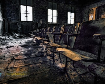 Reserved Seating Fine Art  Photographic Print of abandoned school