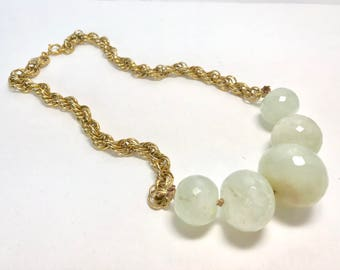 Vintage chain with Chrysoprase faceted rondelles