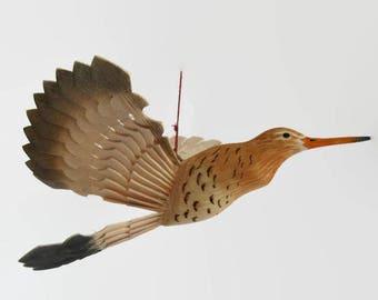 Hand Carved Bird Wood Mobile, Godwit Fan Carving, Lake House Décor, Folk Craft, Wood Anniversary, Handmade Bird Woodwork, Hanging Ornament