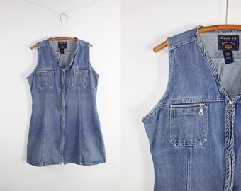Vintage Denim Dress Sleeveless Jean Midi 90's Sun Dress ROUTE 66 Large