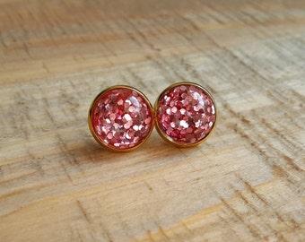 Pink Glitter Stud Earrings in Gold Setting