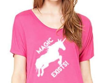Magic Exists Women's Slouchy Tee, Magic Unicorn Shirt