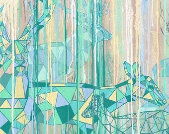 Geometric Deer Doe Forest Green Modern art Giclee Fine Art Print Wall art Room decor Abstract Gift Geometric animals Spring Line art