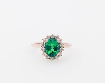 Emerald Engagement Ring, Chatham Emerald Ring, Halo Engagement Ring, Engagement Ring, Rose Gold Ring, Rose Gold, Oval Cut Emerald